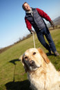 Man taking dog on walk in autumn countryside smiling off camera Royalty Free Stock Image