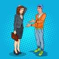 Man Talking with Business Woman. Pop Art illustration