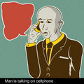 Man is talking on cellphone illustration of with comic art balloon Stock Images
