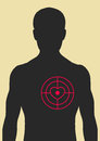 Man and target directly in the heart male dark silhouette red Royalty Free Stock Images