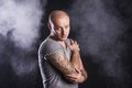 Man with tattoo handsome young isolated on black Royalty Free Stock Photo