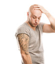 Man with tattoo handsome young isolated on white Royalty Free Stock Photography