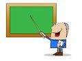 Man a teacher shows on a school board a pointer vector illustration Royalty Free Stock Image