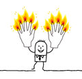 Man with ten burning fingers hand drawn cartoon characters Stock Images