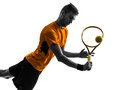 Man tennis player portrait silhouette one in on white background Royalty Free Stock Photography