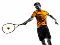 Man tennis player portrait silhouette one in on white background Stock Photos
