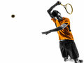 Man tennis player portrait silhouette one in on white background Royalty Free Stock Photos