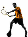 Man tennis player silhouette one in on white background Royalty Free Stock Photo