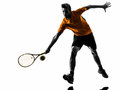 Man tennis player silhouette one in on white background Stock Images