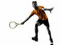 Man tennis player silhouette one in on white background Royalty Free Stock Photos