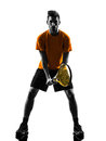 Man tennis player silhouette one in on white background Royalty Free Stock Image