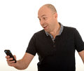 Man texting with mobile Stock Photo