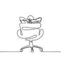 Man thinking and dreaming in office chair