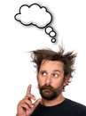 Man thinking goofy young with thought bubble and space for your text isolated on white background Stock Photography