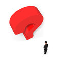 Man thinking with huge 3D red question mark white background Royalty Free Stock Photo