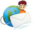 A man thinking in the middle of the envelope and the globe illustration on white background Stock Photography