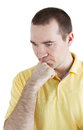 Man thinks his head resting on his hand white background Royalty Free Stock Photo