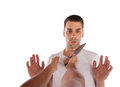 Man threatened with knife a isolated on white background Royalty Free Stock Photography