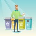 Man throwing away plastic bottle.