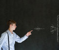 Man throwing chalk strategy darts business student or teacher on blackboard background Stock Photography