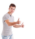 Man with thumbs up gesture Royalty Free Stock Image