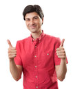 Man with thumbs up sign isolated on white backgroun casual happy background Royalty Free Stock Photography