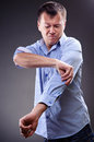 Man in tight shirt Stock Photography