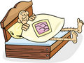 Man in too short bed Royalty Free Stock Image