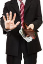 Man took out the money from her purse and shows camera palm stop gesture isolated on white background Royalty Free Stock Images