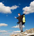 Man on top of mountain. Royalty Free Stock Images