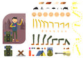 Man tourist constructor. Hiking Man with phone and backpack. Separate part of male person. Icons with different emotions on face.