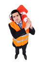 Man with traffic cone Royalty Free Stock Photo