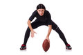 Man training with american football on white Stock Photo
