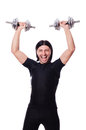 Man training with dumbbells on white Stock Images