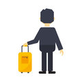 Man with travel bag vector.