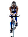 Man triathlon iron man athlete cyclists bicycling bikers biking in silhouettes on white background Royalty Free Stock Photos