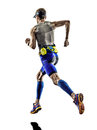 Man triathlon iron man athlete runners running in silhouettes on white background Stock Photography
