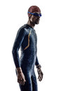 Man triathlon iron man athlete swimmers portrait in silhouette on white background Stock Photography