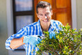 Man trimming shrub cheerful young a in front of house Royalty Free Stock Photos