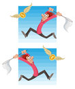 Man trying to catch flying money. dollar coin or euro coin