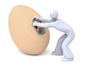 Man trying to open the chicken egg can genetically modified surprise easy open stay tab Royalty Free Stock Photography