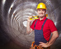 Man in tunnel portrait of manual worker concrete Stock Image