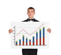 Man in tuxedo holding placard with chart businessman a of profits Stock Photo