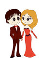 Man in tuxedo and lady in cocktail dress animation characters the the vector eps illustration Stock Photos