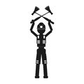 Man with two axes Vector black icon on white background.