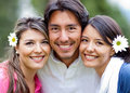 Man and two lovely girls Royalty Free Stock Photo