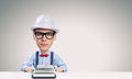 Man typist young funny writer with big head Royalty Free Stock Photo