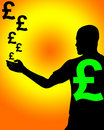 Man With UK Currency 5 Stock Images