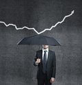 Man umbrella arrow Stock Images