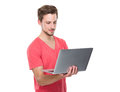 Man use of laptop isolated on white background Royalty Free Stock Photo